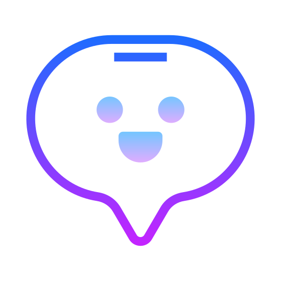 Speech Bubble icon. This speech bubble is in the shape of an oval with the exception of a curved triangle pointing out around the lower left of the oval. This curved triangle is small compared to the oval and looks a little bit like a fang or sharp tooth.