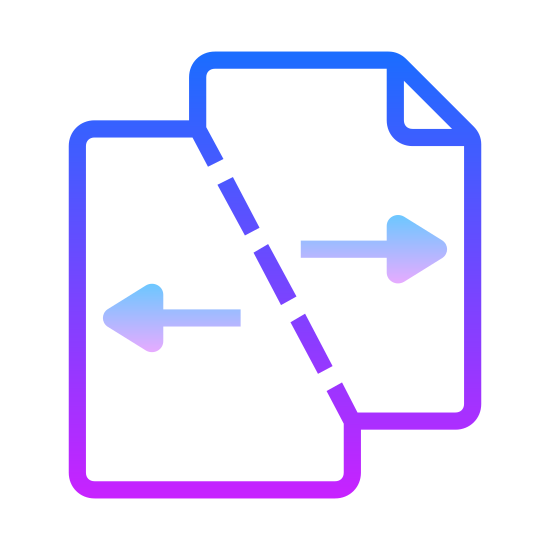 Rozdziel pliki icon. This icon represents split files. It is two sqaures combined together at the top left corner of one and the right bottom corner of the other. Each square has an arrow in it pointing in the opposite of each other, one pointing towards the right bottom corner and one towards the left top corner.