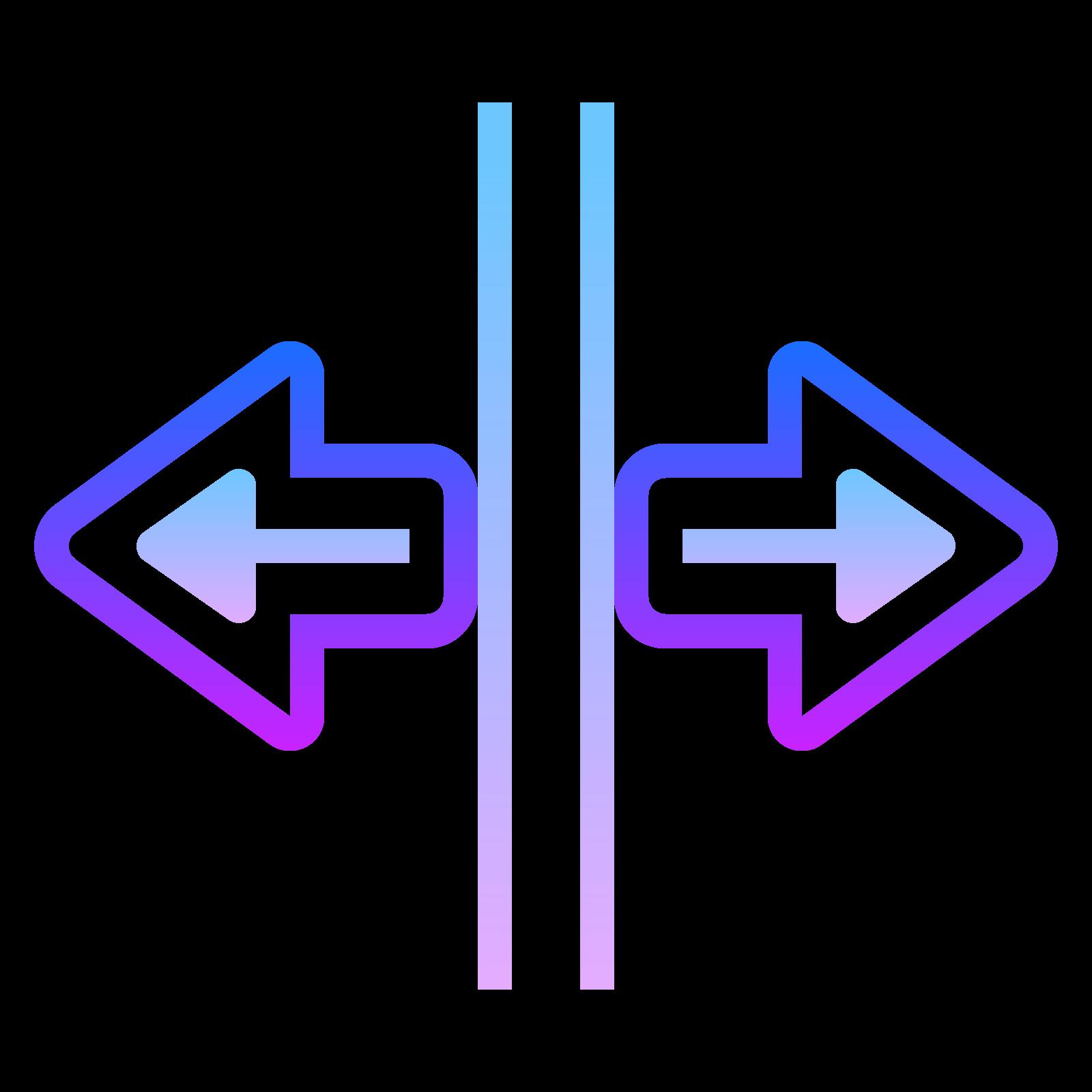 スプリット水平 icon. There is two vertical lines of equal length. At the middle point of each vertical line is a horizontal line with an arrow head at the end going opposite directions.