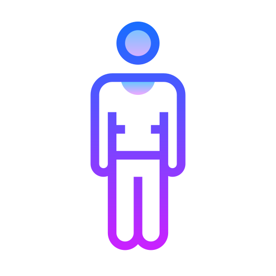 Standing Man icon. There is a circle for a head. the body is a human body shape. there are 2 arms and 2 legs but the head is not attached to them.