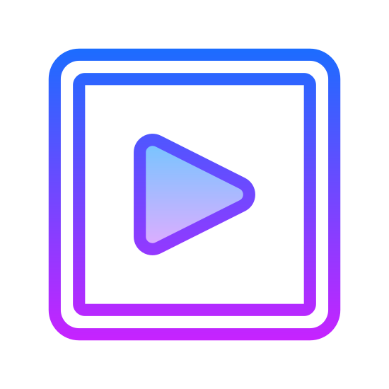 Start icon. This icon is a play or start button typically found on video players on websites like youtube. It is depicted as an arrow facing right that rests in the center of a rectangle that has rounded corners.