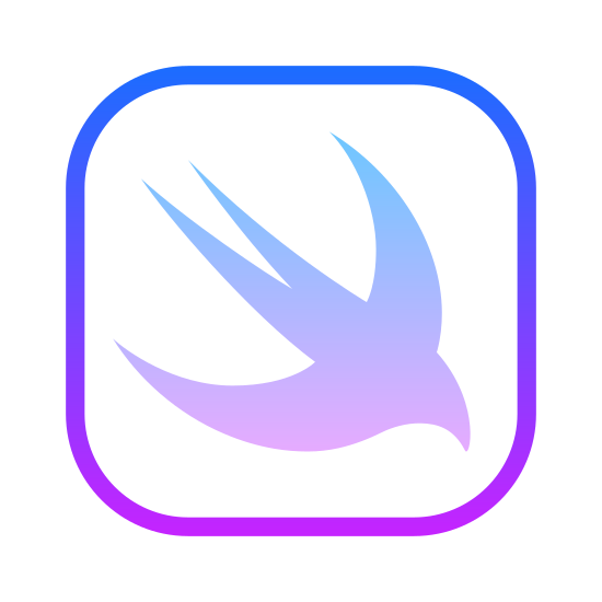 Swift icon. The icon is shaped like a square with curved corners. Inside is a bird-like shape that has it's nose pointed to the bottom right of the square and it's tail pointing towards the upper left corner.