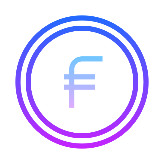 Swiss Franc icon. The icon shows the Swiss Franc, a currency used in Switzerland. It's a circular coin, with the letter F in the middle. The F has a line going horizontally through the bottom.