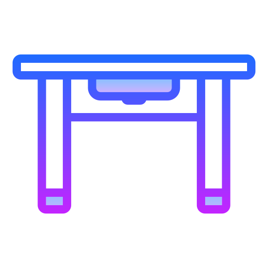 Table icon. It's a picture of a table with four legs and its' long side is facing forward (us). The legs in front look slightly larger than the legs in back. It looks like it's probably three or four feet high.