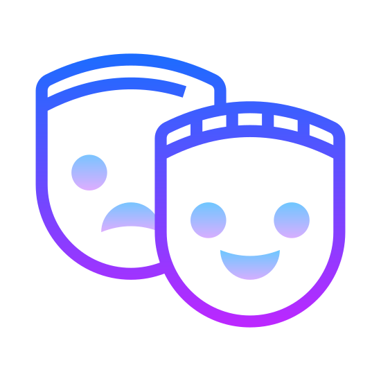 Theatre Mask icon. Stereotypical Shakespear derivative two masks. One in front leaning on it's left side, smiling and happy. One in the back, leaning on the opposite side, sad and downtrodden.