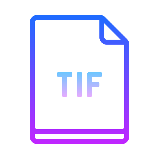 TIF icon. There is a rectangle. The rectangle is vertically oriented so that its left and right sides are larger than its top/bottom sides. The top right corner is folded into the rectangle to form a small right triangle. In the middle of the rectangle is the word 'TIF.'