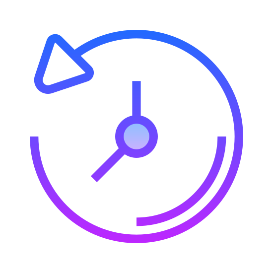 Passado icon. The past icon is a represented with a clock. Instead of a complete circle like most clocks are, the clock is shown with an arrow that makes a circle. However, the arrow is going in a counter clockwise motion to show that it is going backwards or in the past.