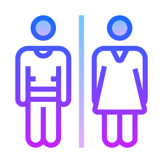 Toaleta icon. It is a logo for a sign placed on bathroom doors to indicate which room is for which gender. There is a male and female icon standing next to each other. For the male, it is a circular head with 2 arms and 2 legs, as if he was wearing a shirt and pants. For the female icon, it is a circular head with 2 arms and 2 legs and a shape of a dress.
