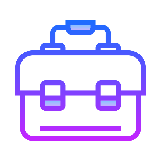 Toolbox icon. It's an image of a toolbox.  Is a rectangle with a horizontal line through the center about one third of the way form the top.  There are two small rectangles on the horizontal line representing locks. Centered on top of the box is a small rectangle representing a handle.