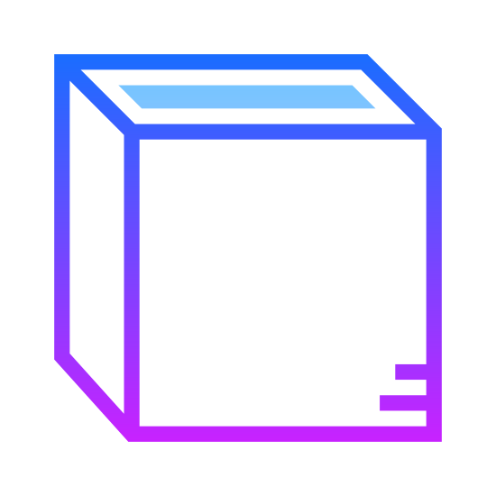 Vue de dessus icon. The icon is shaped like a cube with six sides in total including the top and bottom of the shape. The top side of the cube shape is covered with dots while the rest of the side do not have anything.