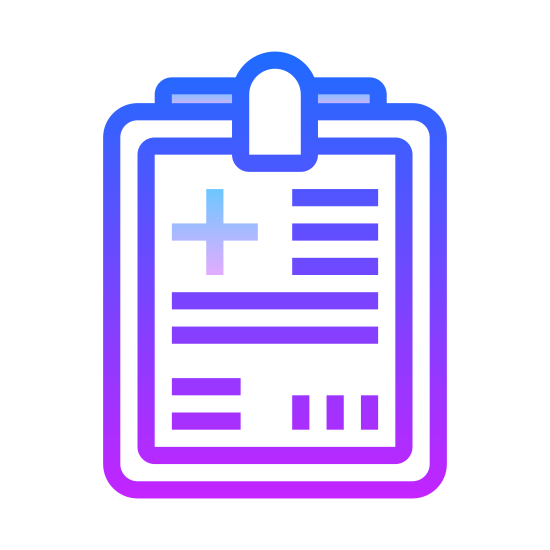 Plan leczenia icon. It's a logo for a treatment plan with a clipboard with a paper. The clipboard is rectangular in shape and has a smaller rectangle on top to depict the clip. There is a piece of paper on the clipboard with a plus sign and vertical lines to show writing.