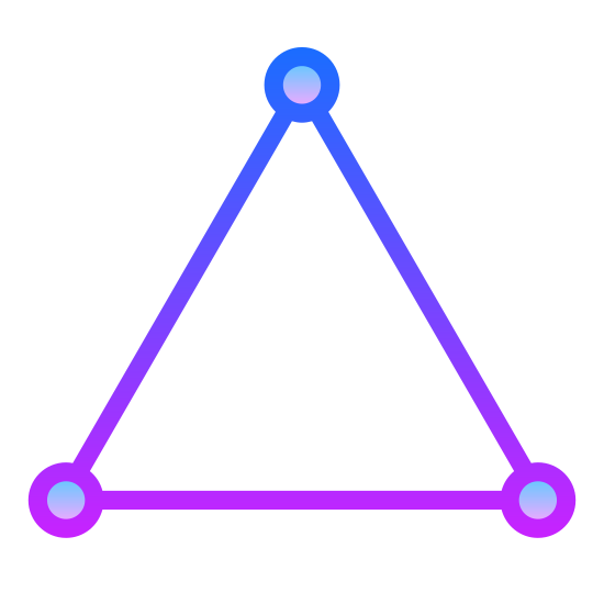 Triangle icon. The image is of a shape that has three sides. These three sides are all equal in lengths as well as angles. Noted that there are three angles; each angle connecting to one another to form this shape. These three angles are about sixty degrees each.