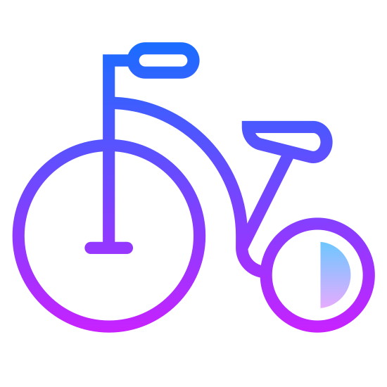Tricycle icon. This is a tricycle. The front wheel is larger than the rear wheel. There is a seat on the frame which goes from the rear wheel to above the front wheel. There are forks that go from the front wheel up through the frame to the handlebars.