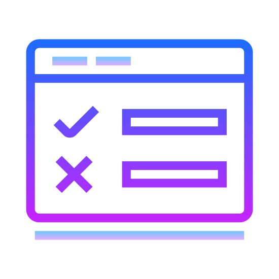 True False icon. It's a multiple choice for true or false. Ii has a check mark and a line to the right of it and then underneath an X with another line to the right of it for you to mark off.