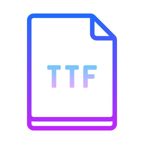 TTF icon. Its a small icon that looks like a document, or a  piece of paper with the upper right hand corner folded over. In the center of the icon is the letters TTF.