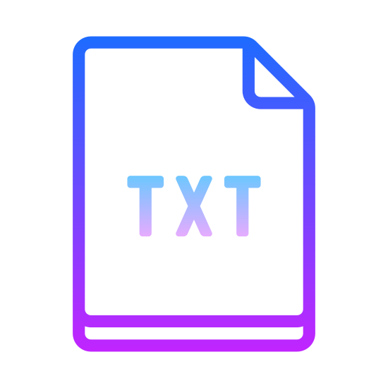 "TXT icon. This is an image of a piece of paper with the letters ""T,X,T"" on it. In the upper right hand corner of the piece of paper there is an earmark."