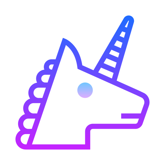 Unicorn icon. This icon represents a unicorn. It is an animal head with a long nose and a small circle eye. It has jagged edges on top to represent hair. It has a long slender triangle coming out of its head to represent a horn.