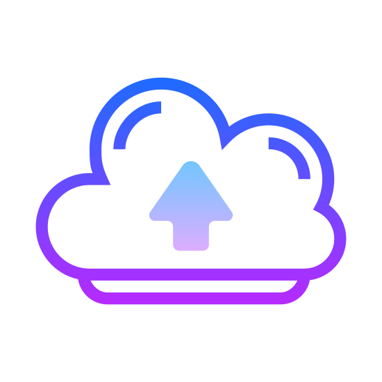 Upload to the Cloud icon. This is a picture of a puffy cloud with an arrow in the center that is pointing straight up. the cloud has four small puffs in it, and a flat bottom.
