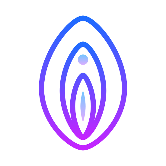 Vagina icon. The icon is shaped like two parentheses facing each other but not fully touching. Inside directly in the middle are another set of parentheses but this time they fully touch. Inside of that one is another set but they aren't in the middle, they are towards the bottom.