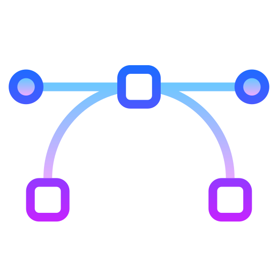 Vector icon. This is an icon to represent a vector. There is a horizontal line on top with a dot on either side. There is a square in the middle of this line. There are two curved lines going downward away from the square with a square of the same size at the end of each of the curved lines.