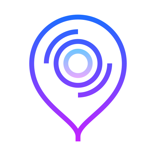 Besuchen Sie icon. There is a upside down droplet shape. inside of it, there is a circle with an eyeball in it. the eye ball is black and has a light coming off from it.
