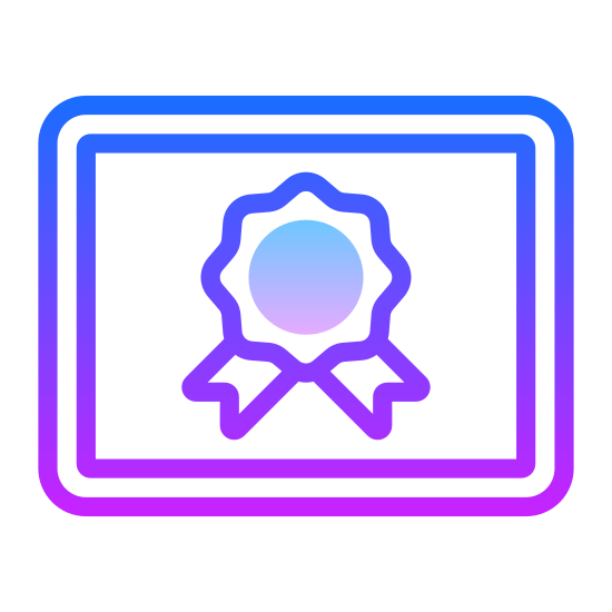 Quality icon. The icon is shaped like a rectangle shape. Inside of the rectangle is a shape that slightly resembles a 10 point star. Attached to the bottom of the star shape are two ribbon shapes sticking out from both the right and left side.