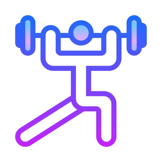 Weightlifting icon. There is a human figure standing with its arms extended over its head and its legs askew. One knee is bent and it is extending a large weight over its head.