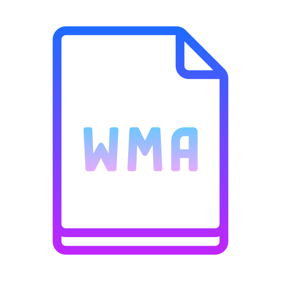 "WMA icon. There is a rectangle with the top right hand corner folded over towards the center.  In the center of the rectangle is a capital letter ""W"" a capital letter ""M"" and a capital letter ""A""."