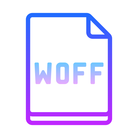 WOFF icon. This is an icon for depicting WOFF. There is a piece of paper with the top-right corner folded over in a triangular shape. WOFF is written in the center of the paper.