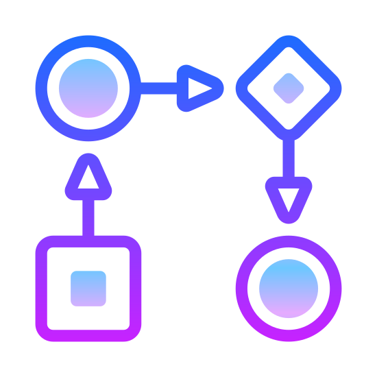 Workflow icon. This icon represents workflow and takes the form of a flow chart. There is a square at the bottom left with an arrow pointing upwards to a circle. The circle points to the right to a diamond and the diamond points downward to another circle.