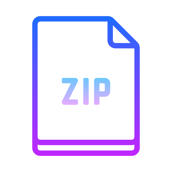 ZIP icon. This icon is a rectangle representing a sheet of paper with the top right corner folded over. The folded corner makes a right triangle and clips off the upper right corner. Inside the rectangle are the letters ZIP.