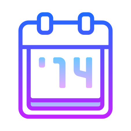 2014 icon in Gradient Line
