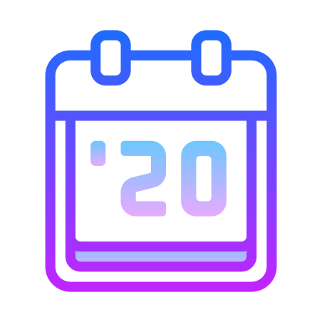 2020 icon in Gradient Line