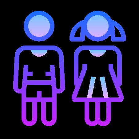 Children icon in Gradient Line
