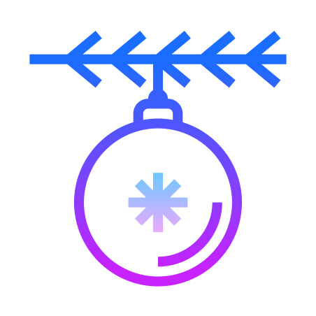 Christmas Tree Decoration icon in Gradient Line