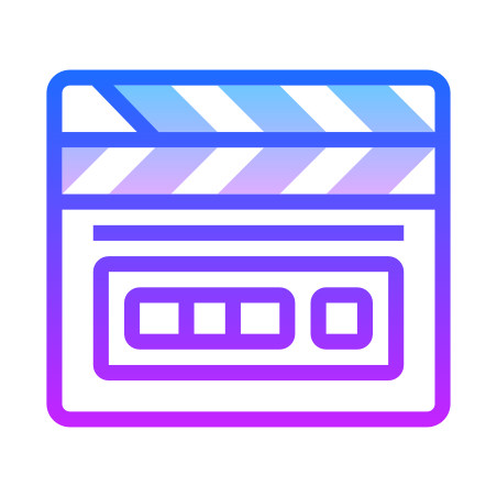 Clapperboard icon in Gradient Line
