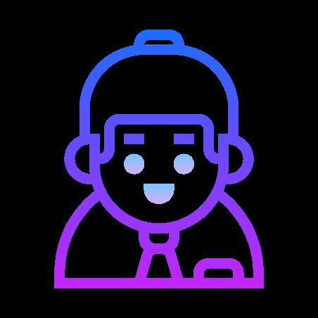 Collaborator Male icon in Gradient Line