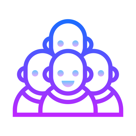 Crowd icon in Gradient Line