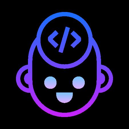 Developer icon in Gradient Line