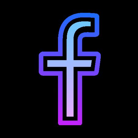 Facebook F icon in Gradient Line