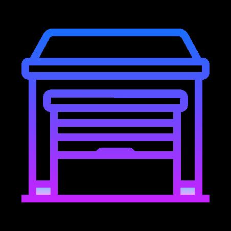Garage Door Part Open icon in Gradient Line