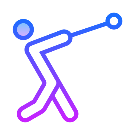 Hammer Throw icon in Gradient Line