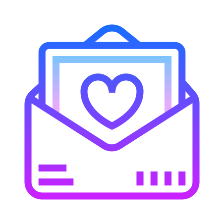 Love Letter icon in Gradient Line