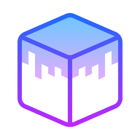 Minecraft Grass Cube icon in Gradient Line