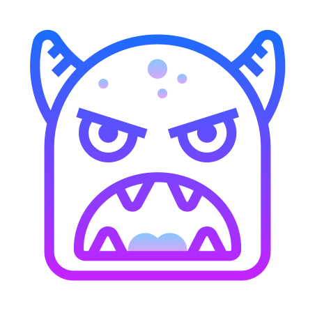 Monster Face icon in Gradient Line