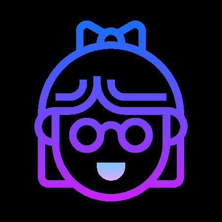 Nerd Hair icon in Gradient Line