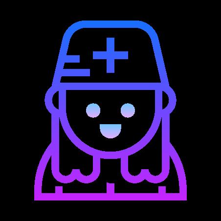 Nurse icon in Gradient Line