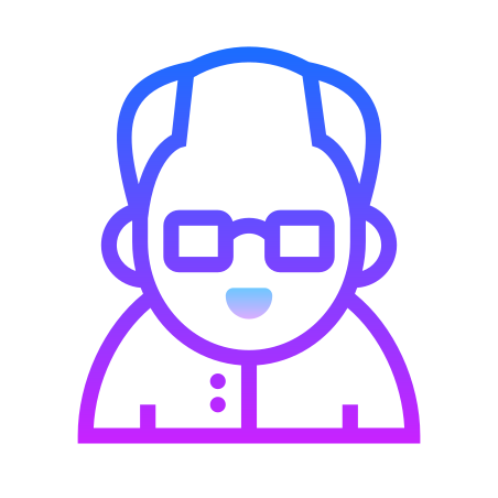 Old Man icon in Gradient Line