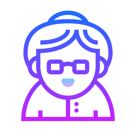 Old Woman icon in Gradient Line