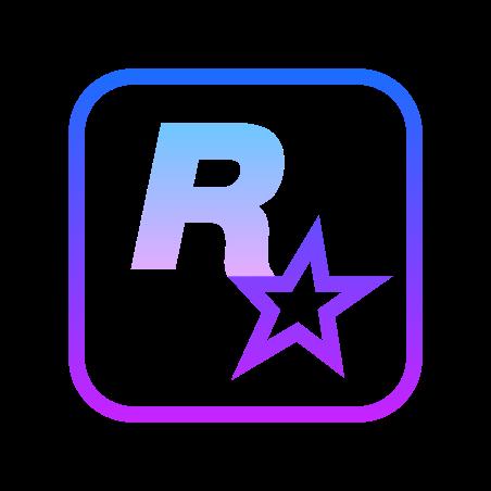 록 스타 게임 icon in Gradient Line